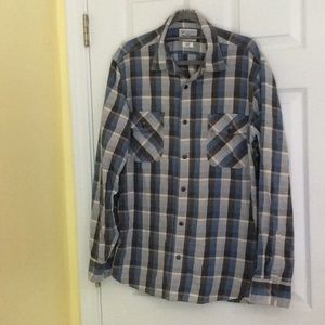Lucky Brand Grey and Blue Plaid shirt - L